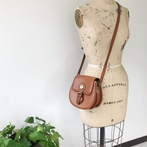 Vintage Leather Buckle Crossbody Purse